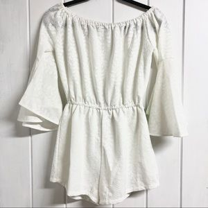 White Lace 3/4 Bell Sleeve Off the Shoulder Romper